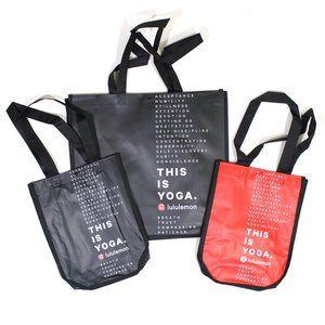 (3) Lululemon Reusable Yoga Shopping Bag Tote